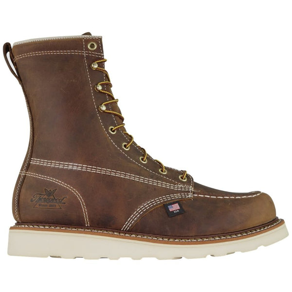 Thorogood 8 Inch Moc Toe Non Safety Crazyhorse Leather Mens Boots#color_brown