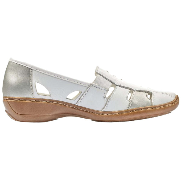 Rieker 41385-82 Leather Womens Shoes#color_white