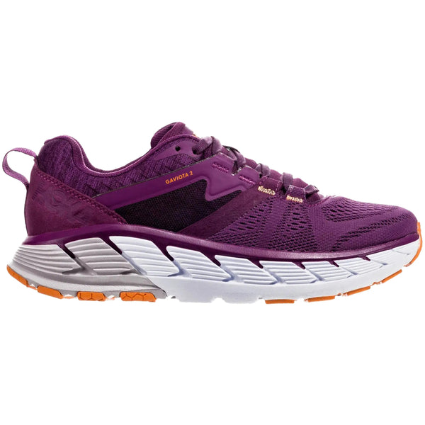Hoka One One Gaviota 2 Wide Textile Synthetic Womens Trainers#color_grape juice bright marigold