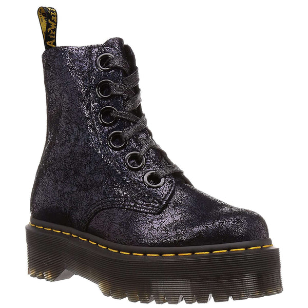 Dr.Martens Molly Iridescent Crackle Leather Womens Boots#color_black