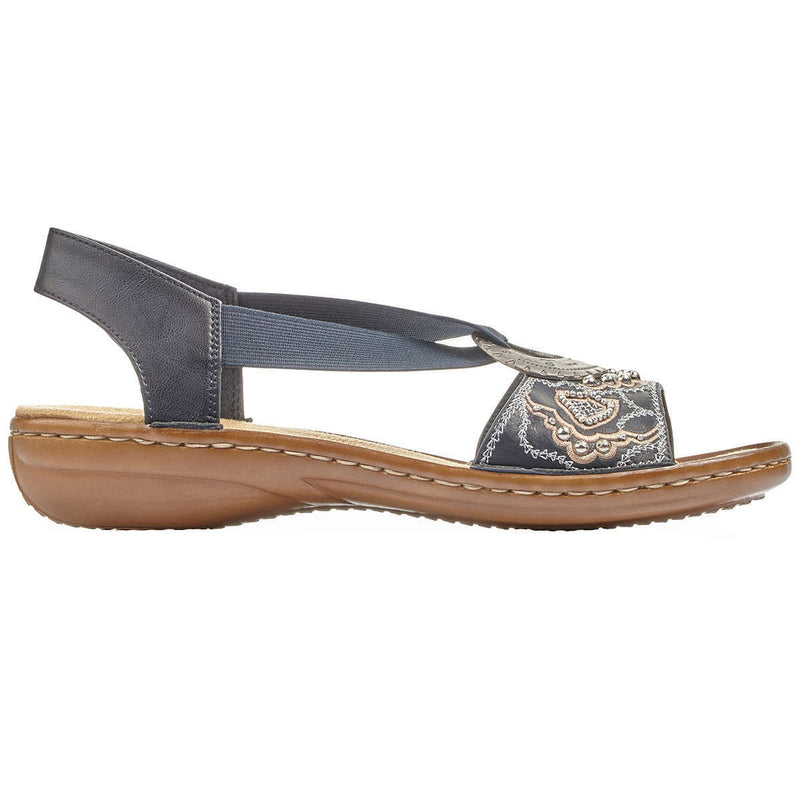 Rieker 608B9 Leather Womens Sandals