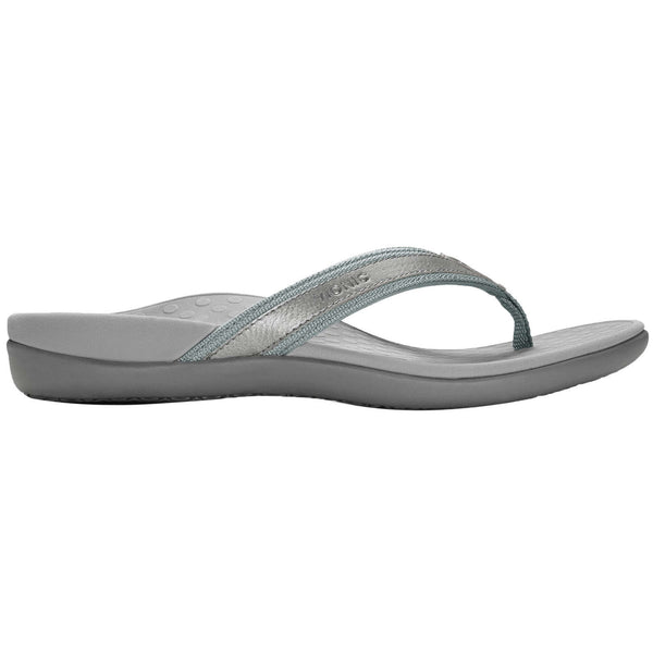Vionic Islander Leather Textile Womens Sandals#color_pewter metallic