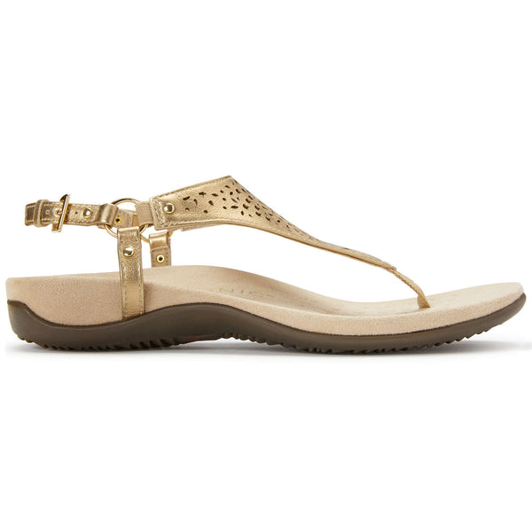 Vionic Rest Kirra Perf Metallic Leather Womens Sandals#color_gold