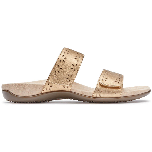 Vionic Rest Randi Metallic Leather Womens Sandals#color_gold