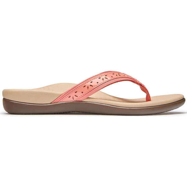 Vionic Tide Casandra Leather Textile Womens Sandals#color_coral
