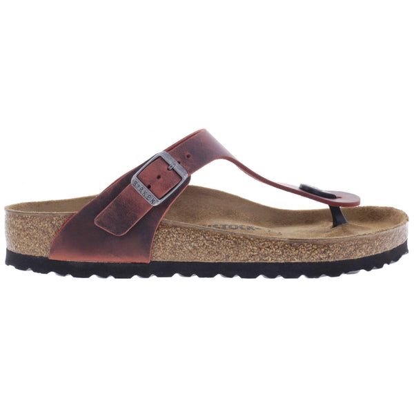 Birkenstock Gizeh BS Waxy Leather Unisex Sandals#color_earth red