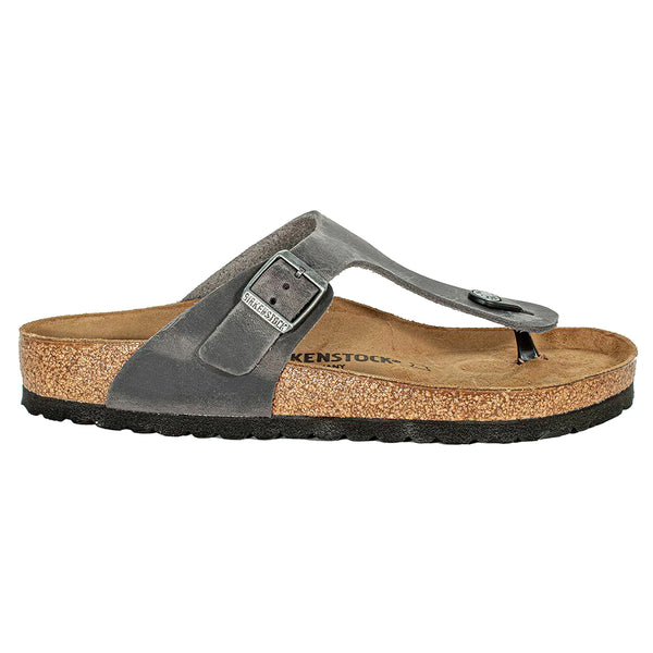 Birkenstock Gizeh BS Waxy Leather Unisex Sandals#color_iron