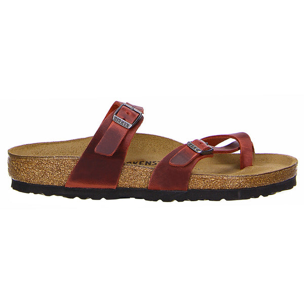 Birkenstock Mayari Waxy Leather Unisex Sandals#color_earth red