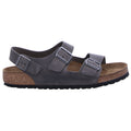 Birkenstock Milano BS Waxy Leather Unisex Sandals#color_iron