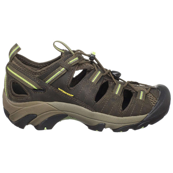 Keen Arroyo II Leather Textile Womens Shoes#color_chocolate chip sap green