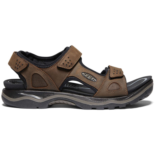 Keen Rialto II 3 Point Nubuck Leather Mens Sandals#color_dark earth black