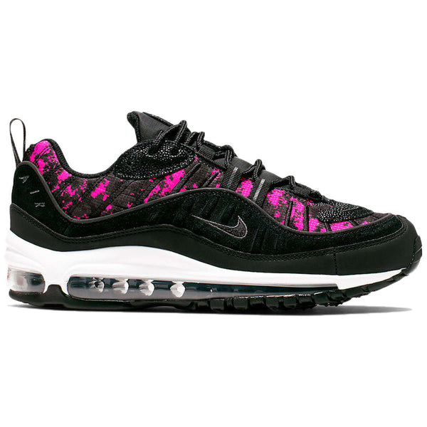 Nike Air Max 98 PRM Textile Synthetic Womens Trainers#color_black hyper pink