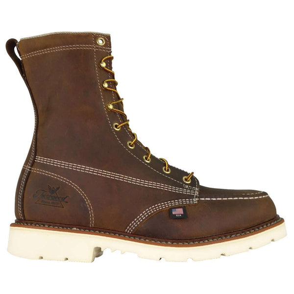 "Thorogood 8"" Moc Safety Toe Leather Mens Boots#color_brown"