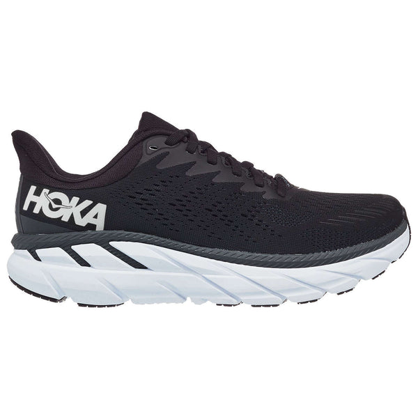 Hoka One One Clifton 7 Wide Textile Synthetic Womens Trainers#color_black white
