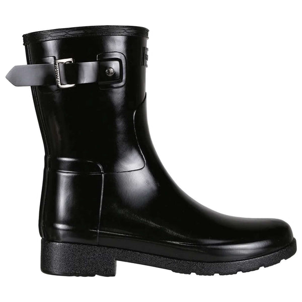 Hunter Original Refined Short Gloss Rubber Womens Boots#color_black