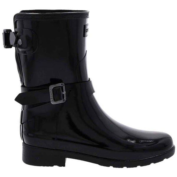 Hunter Refined Adjustable Short Gloss Rubber Womens Boots#color_black