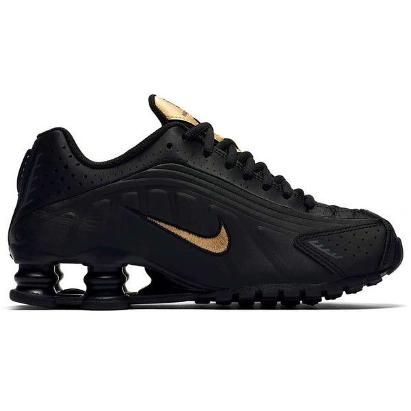 Nike Shox R4 GS Synthetic Youth Trainers#color_black metallic gold