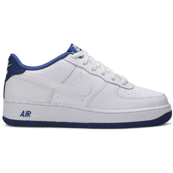 Nike Air Force 1-1 GS Leather Youth Trainers#color_white deep royal blue