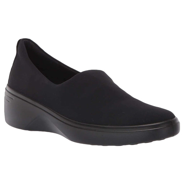 Ecco Soft 7 Wedge Textile Womens Shoes#color_black