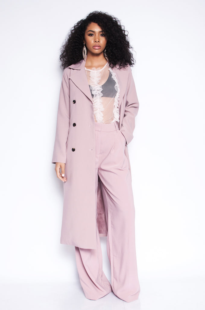 Pink Fig Trench Coat