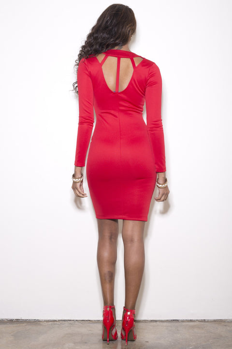 Diamond Back Dress - Red