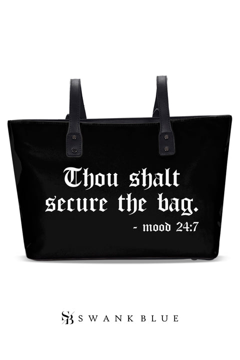 Black Money Leather Tote