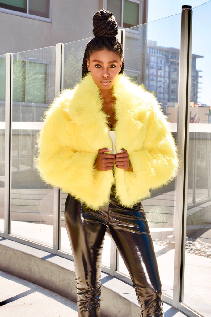Electric Lemonade Faux Fur Jacket