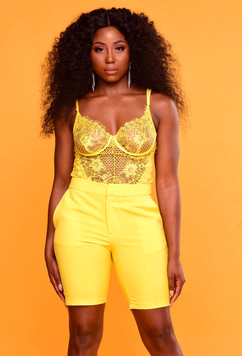 Vixen Lace Bodysuit - Yellow