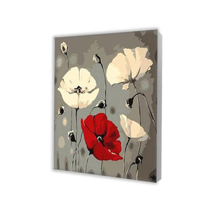 White and Red Poppies