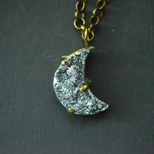 Load image into Gallery viewer, Silver Druzy Crescent Moon Necklace