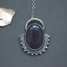 Load image into Gallery viewer, Sunburst Goldstone Sterling Silver Pendant