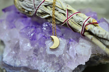 Load image into Gallery viewer, Delicate Brass Crescent Moon Necklace