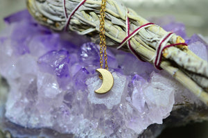 Delicate Brass Crescent Moon Necklace