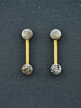 Load image into Gallery viewer, Reticulated Full Moon & Brass Drop Earrings