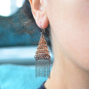 Bronze & Sterling Silver Chainmaille Fringe Earrings