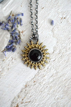 Load image into Gallery viewer, Sunburst Onyx & Brass Pendant