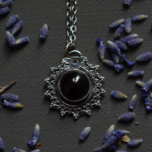 Load image into Gallery viewer, Sunburst  Onyx & Sterling Silver Pendant