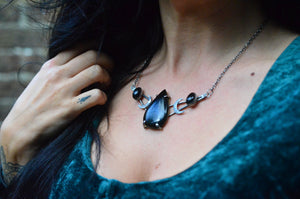 Onyx and Sterling Silver Dark Moon Necklace
