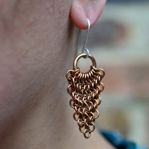 Bronze Chainmaille Dangle Earrings