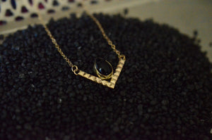 Brass and Onyx Chevron Necklace