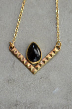 Load image into Gallery viewer, Brass and Onyx Chevron Necklace