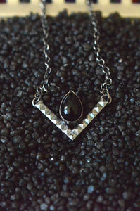 Sterling Silver & Onyx Chevron Necklace
