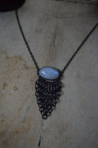 Rainbow Moonstone & Sterling Silver Chainmaille Necklace