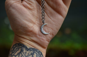 Textured Crescent Moon Pendant