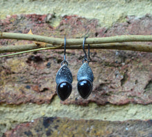 Load image into Gallery viewer, Onyx and Textured Sterling Silver Drop Earrings