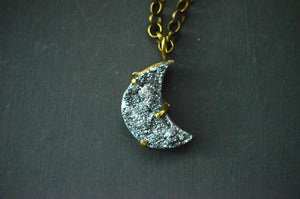Silver Druzy Crescent Moon Necklace