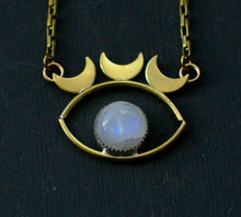 Load image into Gallery viewer, Moonstone Amulet Eye Pendant