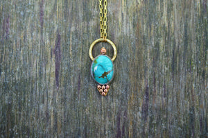 Turquoise Copper & Brass Pendant