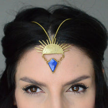 Load image into Gallery viewer, Lapis Lazuli & Brass Sunburst  Goddess Headpiece