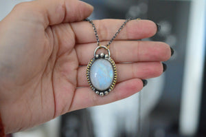 Rainbow Moonstone Barr Necklace